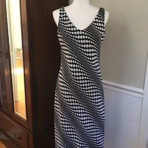 Vintage B&W polka dot midi dress, runs small-sz 12